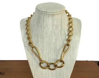 1980's Monet chunky necklace vintage gold tone chain link jewelry