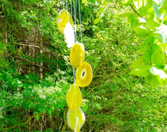 Agate Wind Chime, XL, 28'' inches length, Slices, each 3.5'' inches, yellow, metaphysical, protection, gift, decoration, home decoration