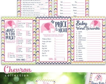 Chevron Baby Shower Games Package, printable INSTANT DOWNLOAD, YS.002