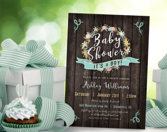 Baby Shower Invitation Boy Rustic - Printable DIGITAL FILE