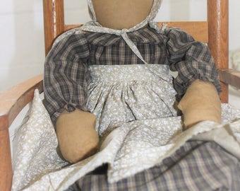 Big Rag Prairie Doll with Bonnet and Apron