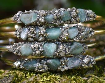 Emerald Birthstone Gift-Emerald Bracelet, Raw Emerald Cuff Bracelet, Pyrite Bracelet, Birthstone Gift, Birthday Gift for May, Green, Mom