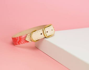 Hindu | leather dog collar. Dog collar - Dog - Gold - Natural - Pink - Neon - Pastel - FYRAH