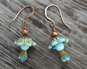 Blue Bell Flower Copper Earrings - Copper wire wrapped earrings - Hibiscus Flower Glass beaded earrings - Light blue dangle drop earrings