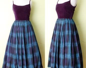 1940s Dress Purple Velvet Blue Plaid Sequins Mid Century