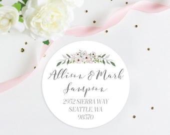 "Custom Wedding Return Address Label Sticker, Watercolor Return Address Label, Sticker, 2"" Return Address Label"