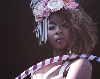 Showgirl vintage trim donuts and flowers headdress - burlesue - cabaret - drag - costume