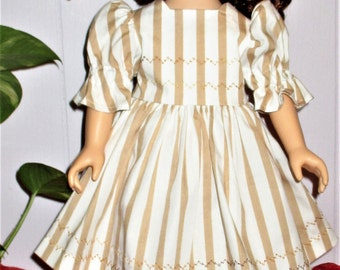 "18"" ag Tan/white 2 piece doll dress, brown and white striped doll dress with matching undies, striped doll dress with matching underwear"
