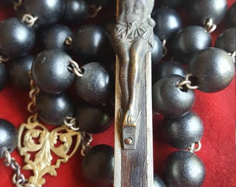 Large Antique Spanish Rosary Wall Rosary Catholic Jewelry Black Rosary Catholic Gift Crucifix with Skull