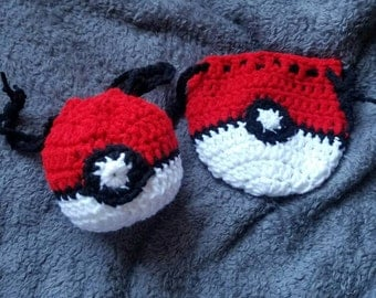Pkmn Inspired Drawstring Pouch Pokeball