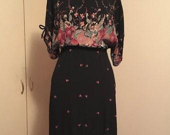 vintage 70s ragtime floral fruit cherry bouquet bat wing gauze black elastic waist blouse dress