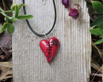 Stitched Heart Red Necklace, Broken Heart ,Emo Heart