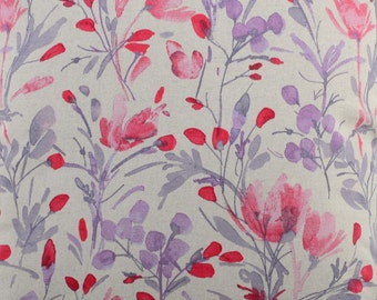Double width Meadow Watercolour flower design Purple and pinks Fabric by the metre