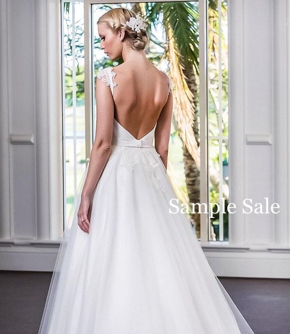 A line wedding dress low back wedding dress handbeaded for Low back wedding dresses for sale