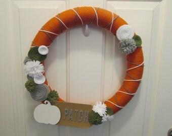 Fall Yarn Wreath, Pumpkin Yarn Wreath, Fall Wreath, Pumpkin Wreath, Thanksgiving Yarn Wreath, Autumn Yarn Wreath, Halloween Yarn Wreath