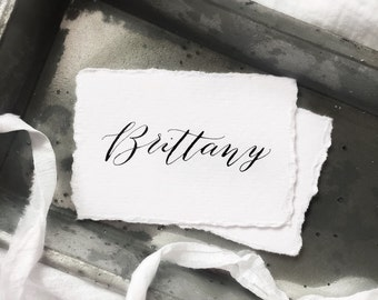 Calligraphy Place Cards // Hand Written Custom // Hand Torn Edges // Wedding and Events