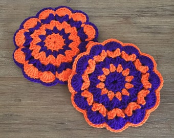 Vintage Trivets; Purple & Orange Crocheted Trivets; Pot Holders; Crocheted Hot Pads; Vintage Kitchen