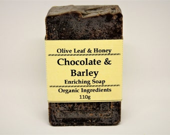 SALE! Natural Organic Soap, Chocolate Barley Soap, Patchouli, Cinnamon, Peppermint, Cocoa Liquor, Matcha, Essential Oil, Olive Oil, Rustic