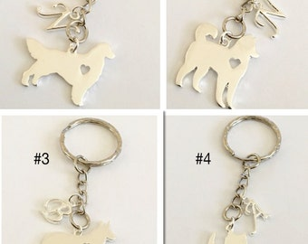 SALE * Personalized 4 different Dog Key Chain Initial Birthday Gift jewelry Boyfriend gift Free gift bag handmade Christmas gift