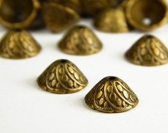 25 Pcs or 50 Pcs - 11x6mm Bronze Bead Caps - Bronze Bead Caps - Antique Bronze Caps - Jewelry Supplies