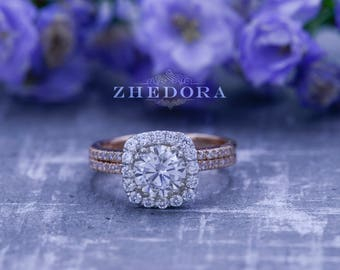 2.20 CT Round Halo Engagement Ring band Bridal set Solid 14k Rose & White Gold, Unique Rose Gold Engagement Rings by Zhedora