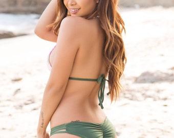 Olive green scrunch butt bottom