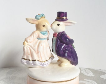 Cute Dancing Bunnies Vintage Music Box April Love by Sekiguchi Ceramic Bunny Rabbit Figurine Made in Taiwan Music Box Collection Gift