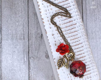 Red Rose Bead Necklace | Fairytale Inspired | Single Strand Design