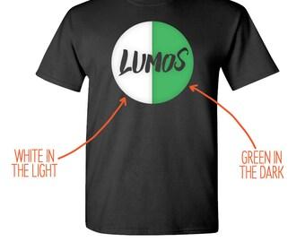 "Harry Potter - ""Glow-in-the-Dark Lumos"" - Harry Potter T-Shirt - Lumos T-Shirt - Potterhead T-Shirt - Unisex Adult Size Black T-Shirt"