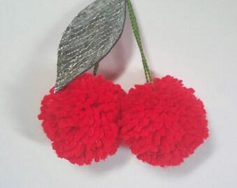 Fruity Cherry Pompom Fob