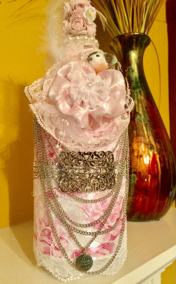 Shabby chic Victorian decorated bottle