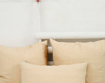 Sand colour linen pillow case. Softened with stone wash. Queen, king, standard sizes.