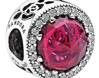 Pandora Disney Belle's Radiant Rose Cerise Crystals & Cubic Zirconia Details Comes in Pandora Hinged Charm Box # 792140NCC