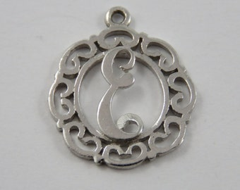 """Initial """"E"""" Sterling Silver Charm or Pendant."""