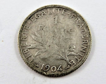 France 1904 Silver One Franc Coin.