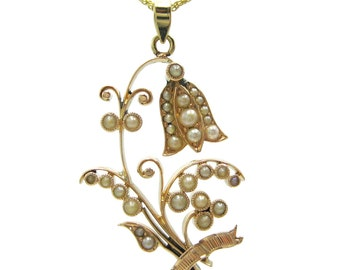 Antique Lily of the Valley / Bluebell Flower Seed Pearl Rose Gold Edwardian / Victorian Pendant Necklace