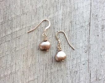 Freshwater Pearl Earrings (Topaz), Pearl Earrings, Pearl Jewelry, Minimal Earrings, Free Shipping U.S.