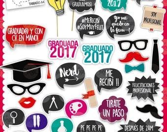 Photo Booth Props Graduacion egresados imprimible