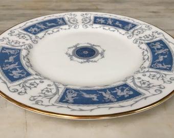 "vintage Revelry Coalport salad plate, 8"", bone china, blue white, made in England"
