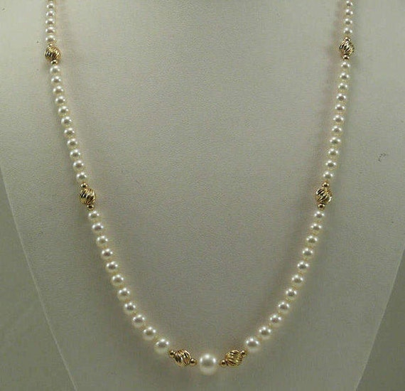 Freshwater White Pearl Graduated Necklace with 14k Yellow Gold Beads and Clasp