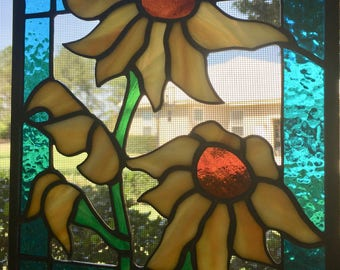 Stained Glass Sunflower Panel Suncatcher