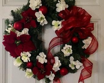 Christmas Pine Wreath, Holiday Wreath, Poinsettia Wreath