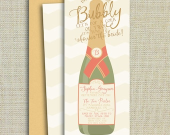 Brunch and Bubbly Champagne Bridal Shower Invitation, Gold Pink Shimmer, Bachelorette Party, Lingerie Party, Printed on shimmer paper