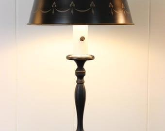 Vintage Black & Gold Tole Lamp with Metal Shade French Bouillotte Style