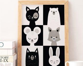 Monochrome nursery, Animal nursery art, Animal nursery prints, Monochrome baby, Bear print, Black and white prints, Black and white nursery
