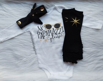 Baby Girl Clothes, No Paparazzi Please, Funny Baby Clothes, Coming Home Outfit, Hospital Outfit, Optional Leg Warmer Set, Black and Gold
