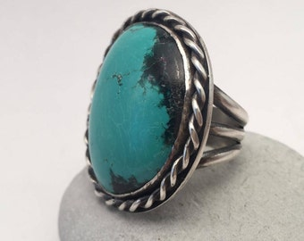 Turquoise Ring, Size 10 Wide Band, Fits like 9 1/2, Kingman, Statement Ring, December Birthstone, Large, Rustic, Boho, Gypsy, Earthy, Big
