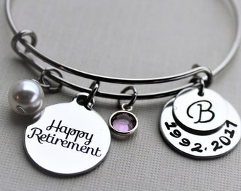 retirement bracelet, personalized retirement bracelet, retirement charm bracelet, retirement bangle, retirement gift, retirement jewelry
