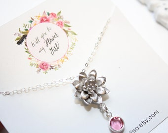 flower girl birthstone necklace, will you be my flower girl necklace, personalized flower girl necklace, flower girl jewelry, flower girl