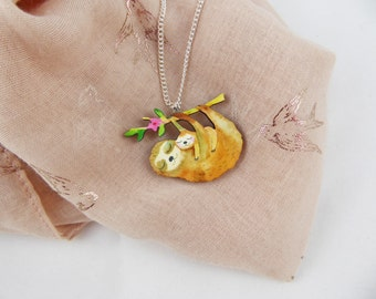 Mumma and Baby Sloth Necklace